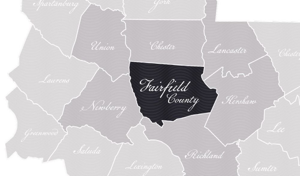 South Carolina map with Fairfield County in bold