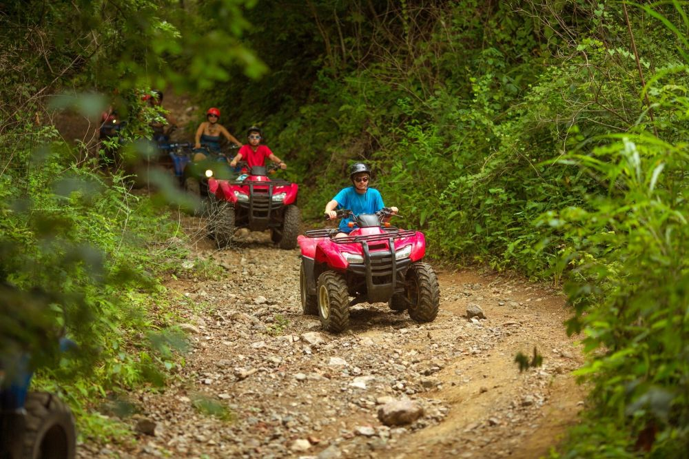 riding red ATV's in the woods